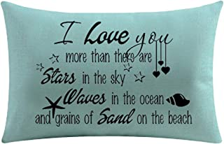 Beach Quote I Love You More Than There Are Stars In The Sky Waves In The Ocean And Grains Of Sand Cotton Linen Throw Pillow Cover Cushion Case Holiday Decorative 12
