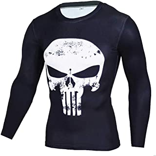 Dri Fit White Skull Punisher Workout Shirt Mens Long Sleeve Compression Top