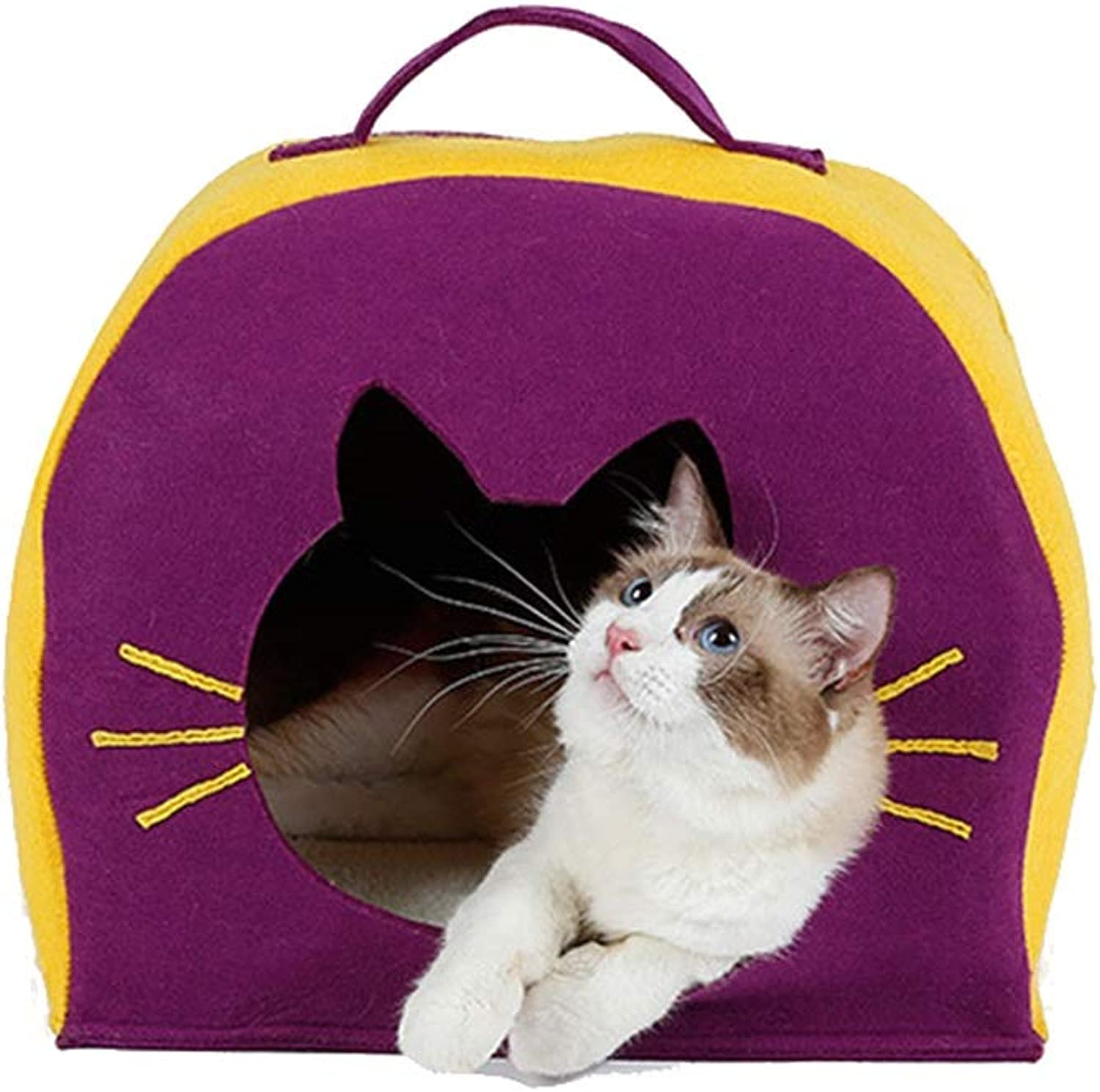 Liuxiaoqing Pet Bed for Cats Small Dogs Winter Washable Pet Warmer Cat Dog Bed House Natural Felt Cloth Cat House Cat Tent Yurt Soft Comfy Washable (color   Purple)