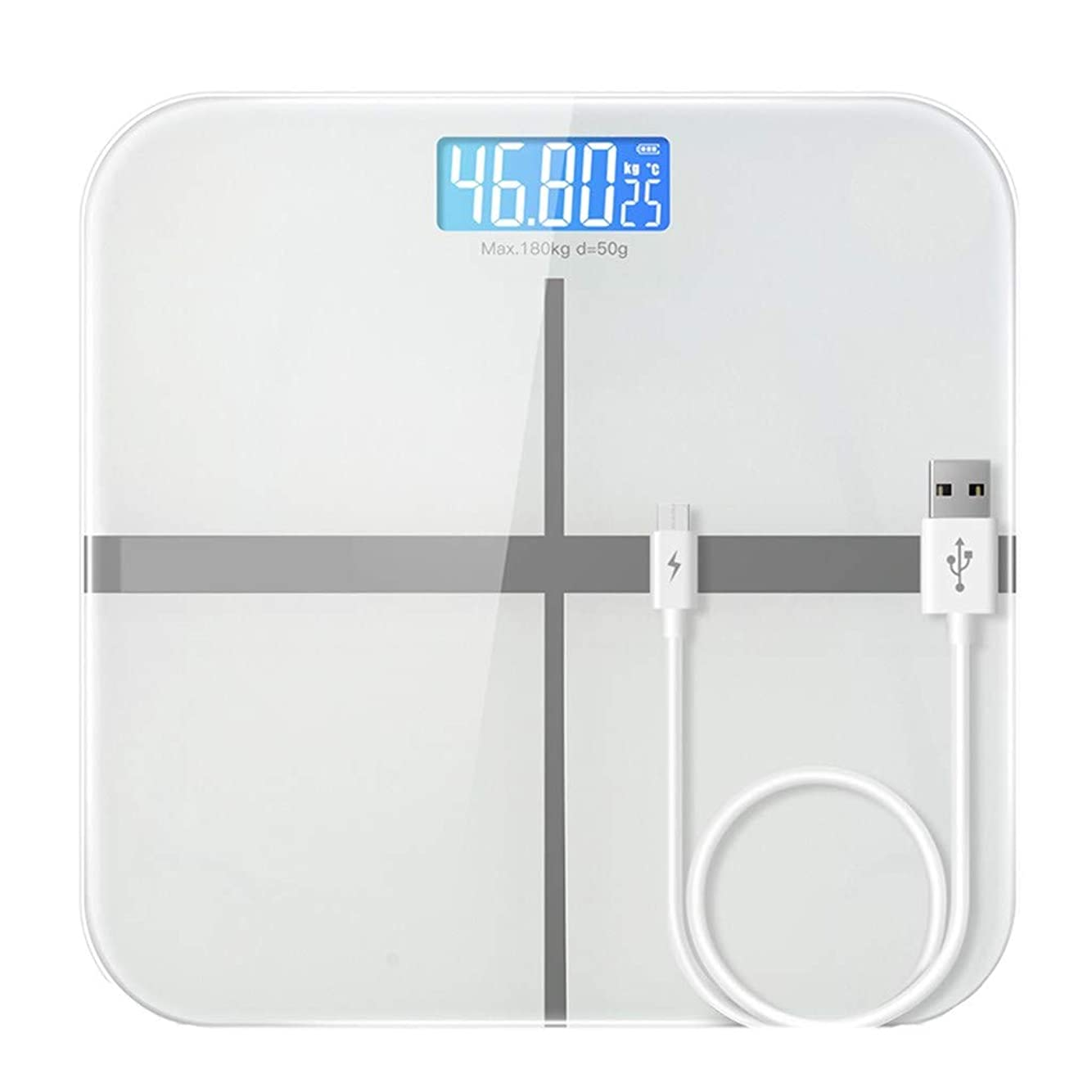 まあ二層富高精度体重計デジタル失う体重浴室スケール強化ガラスプラットフォーム大面積180kg容量USB充電
