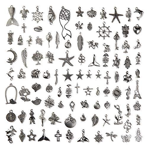 ZWOOS 100 piezas Plata Tibetana Colgantes Plata Antiguos Encantos Colgantes Mixtos DIY Colgante de Joyería Dijes para de la joyería de bricolaje, llaveros, pulseras, collares, pendientes