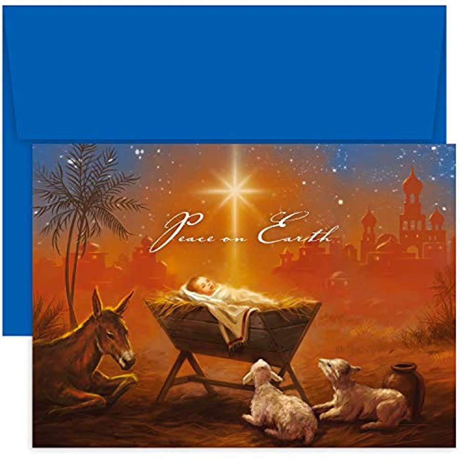 Masterpiece Studios Holiday Collection 18 Cards / 18 Envelopes, Baby Jesus with Animals t017462978