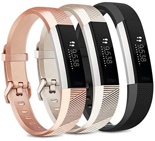 Vancle 3 Pack Kompatibel für Fitbit Alta HR Armband und Fitbit Alta Armband, Verstellbares Sport Ersatzarmband für Fitbit Alta HR/Fitbit Alta (Roségold/Gold/Schwarz, L)