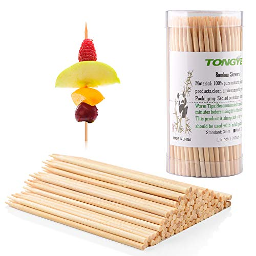 TONGYE Premium Natural BBQ Bamboo Skewers for Shish Kabob, Grill, Appetizer, Fruit, Corn, Chocolate Fountain, Cocktail and More Food, More Size Choices 4'/6'/8'/10'/12'(200 PCS)