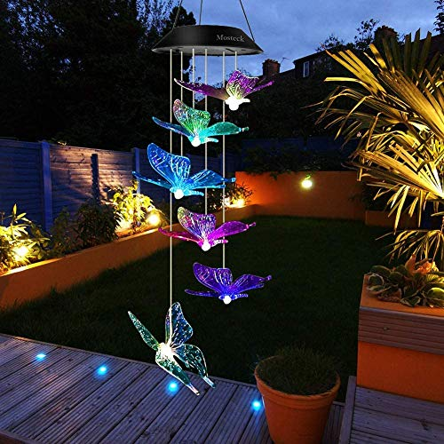 Bestcool Luces de Campanas de Viento Solares LED 6 de carillón de Viento de ángel con Cambio de Color Lámpara de Jardín Solar Colgante prueba de agua para el Patio del Hogar, Exteriores e Interiores