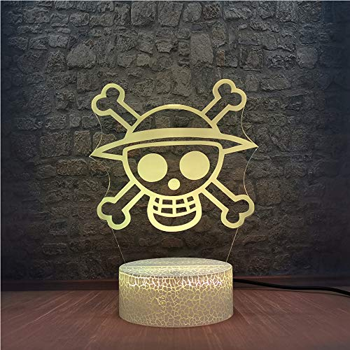 ONE Piece Logo Night Light Straw hat boy Pirates King Sign 3D Illusion Acrylic lamp Smart Touch Remote USB Bulb Kids Room Decor Anime Fans Party Lighting