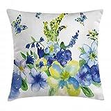 ABAKUHAUS Amarillo y Azul Funda para Almohadar, Acuarela Flores Primaverales Pimpollos Vibrantes Diseño Artístico, con Estampas Digitales Personalizadas Lavable, 50 x 50 cm, Azul Real