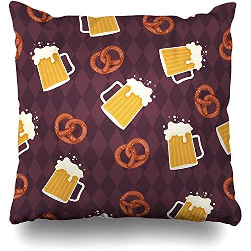 Funda de almohada de 45 x 45 cm, espuma de cerveza, diseño de pretzels de estilo alemán, texturas de comida festival, fiesta de bebidas