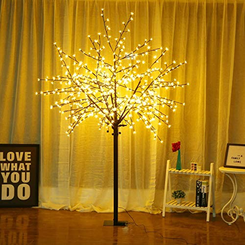 Bolylight LED Cherry Blossom Tree 8ft 500L LED Decoration Lighted Tree for Bedroom/Party/Wedding/Office/Home, Indoor and Outdoor Use Warm White