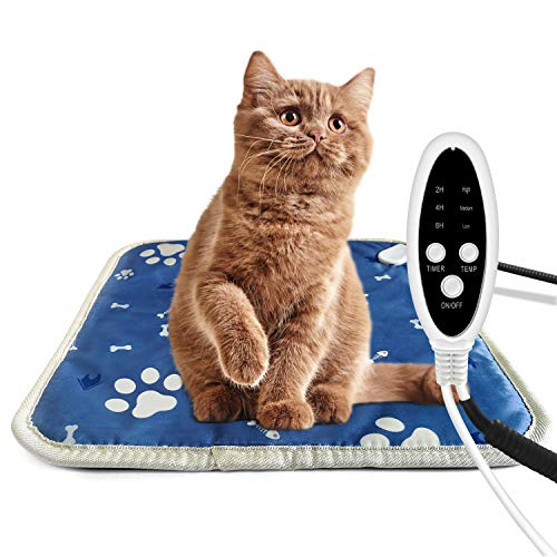 Pet Heating Pad for Cats and Dogs, Heated Cat Dog Bed Mat,...