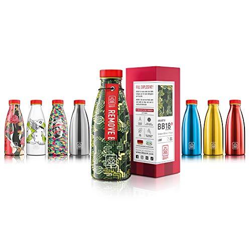 Bboom Bottiglia Acciaio Inossidabile Senza BPA   Borraccia Leggera e compatta   Ecologica e Durevole, a Prova di perdite (Circuito Mimetico)