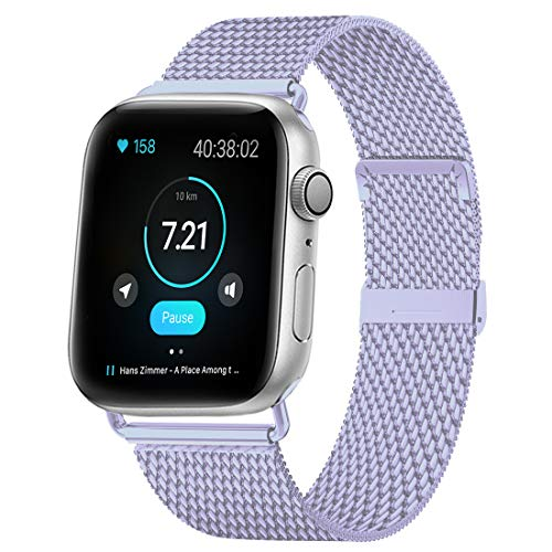 HILIMNY Compatible for Apple Watch Band 38mm 40mm, Stainless Steel Mesh Sport Wristband Loop with Adjustable Magnet Clasp for iWatch Series 1, 2, 3, 4, 5, Lavender