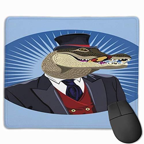 Muiskussen, bureaumuis, muismat Alligator Portret van Heren Krokodil in Suitsnd Rood Vest met Retro Top Hatmulticolor