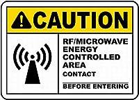 Caution RF/Microwave Energy 金属板ブリキ看板警告サイン注意サイン表示パネル情報サイン金属安全サイン