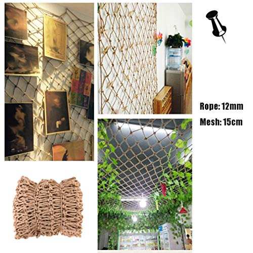 Climbing Frame Hemp Rope Net Photo Net Wall Vintage Industrial Style Decoration,Garden Mesh Netting,Natural Jute Material,Easy To Install And Easy To Replace,for Home Bar Cafe,12mm/15cm,Multiple Sizes