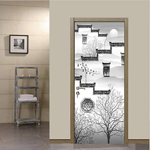 BVCK Home Decor DIY Door Sticker Ink Painting Self Adhesive Decal Paper For Living Room PVC Waterproof 3D Print Sticker Art