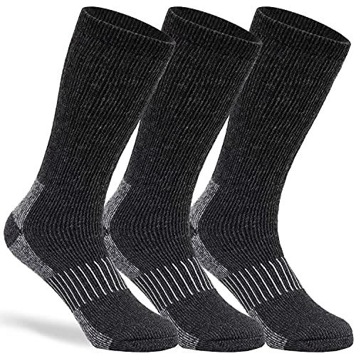 Merino Wool Socks Casual Warm Socks for Winter Cozy Boot Socks for Men & Women Black ML