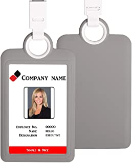 Badge Holder ID Silicon Card Holder Vertical with Lanyard Neck Strap Heavy Duty ID Card Business Card Offices Supplies (Gray)