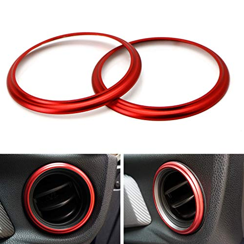 iJDMTOY 2pc Sports Red Aluminum AC Vent/Opening Trim Decoration Cover Ring Compatible With 2013-2016 Scion FR-S, 2017-up Toyota 86, Compatible with 2013-up Subaru BRZ