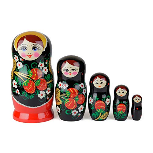 Russische Matroschka-Puppen, 5 traditionelle Matroschkas Hohloma-Stil | Babuschka Holzpuppen, Schwarzes, goldenes und rotes Beeren-Design, Handgefertigt in Russland | Hohloma, 5 Stück, 17 cm