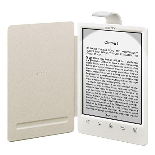 Weißes Cover mit Leuchte für den Reader (PRS-T3/T3S) von Sony: Die eingebaute Beleuchtung ermöglicht das Lesen bei Dunkelheit. Das dezente Leselicht ... des Schutzeinbandes versenkt werden kann