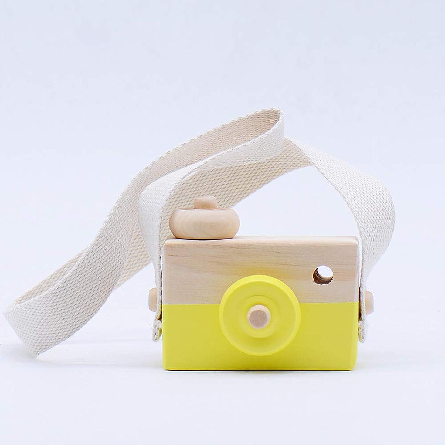 格納中に同級生ミニかわいい木製カメラのおもちゃ安全なナチュラル玩具ベビーキッズファッション服アクセサリー玩具誕生日クリスマスホリデーギフト (黄)