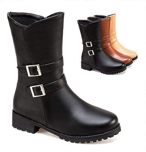 XE botas para mujer  Modernas botas de Tacón Bajo Hebilla de Cinturón botas de Invierno botas Grandes para mujer   34-43