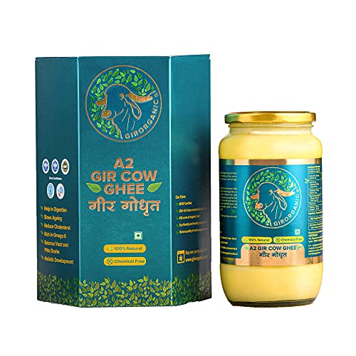 Organic Grass Fed A2 Ghee Clarified Butter from Girorganic - Unsalted Gir Cow Ghee Butter - Organic Ghee Oil - Pasture Raised, Non-GMO, Lactose-Free - 32 Oz