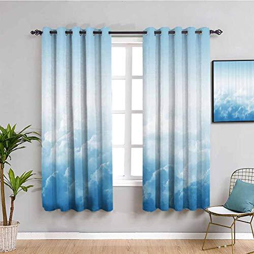 Decoracin de apartamentos para dormitorio, cortinas opacas, nubes esponjosas por encima de la masa de agua condensada con vapor flotante imagen de caf cortina azul blanco W72 x L72 pulgadas