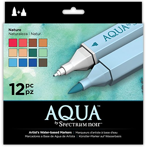 Spectrum Noir Aqua Artist's Water Based Dual Nib Marker Coloring Pens, Nature, Pack of 12