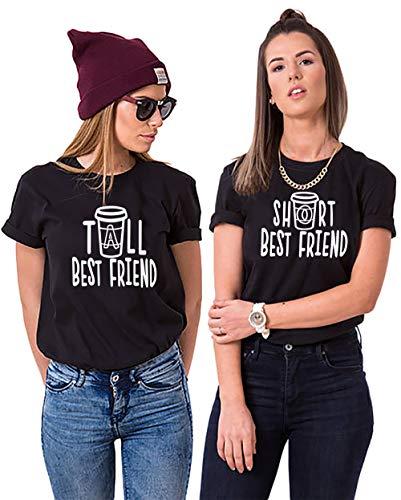 Best Friends T-Shirt für 2 Mädchen Sister T-Shirt Freundschafts T-Shirt Beste Freunde T-Shirt für 2 Best Friends Geschenk Sommer Oberteil Kurzarm Baumwolle Schwarz Weiß 2 Stücke
