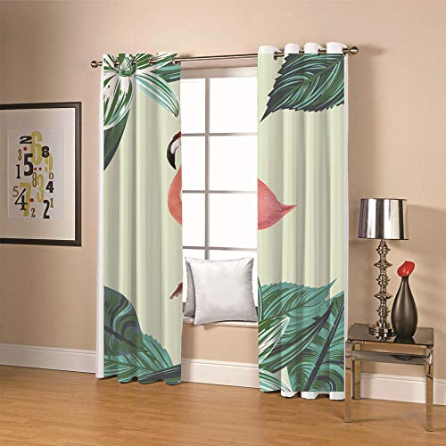 QHDIK Kids Printed Blackout Curtains for Bedroom Flamingo Patterns Curtains Eyelet Thermal Insulated Room Darkening Window Treatment for Nursery 2 Panels W55 x H96 inch