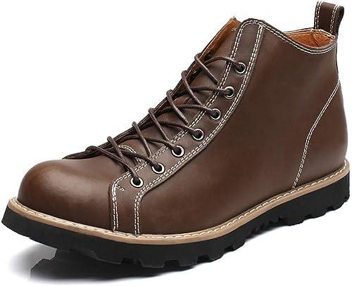 Fuxitoggo Herrenmode Casual High Ankle Stiefel Top Plain Farbe Round Top Waterproof Martin Stiefel (Farbe   Schwarz Größe   41 EU) (Farbe   Dark braun, Größe   43 EU)