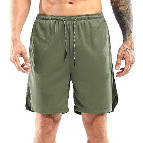 Yidarton Shorts Herren Sport Sommer 2 in 1 Kurze Hosen Schnelltrocknende Laufshorts Fitness Joggen und Training Sporthose mit Taschen (175-grün, Medium)