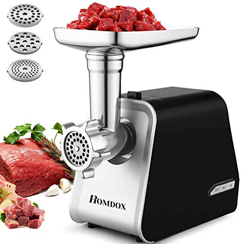 Electric Meat Grinder, 2000W Meat Grinder with 3 Grinders and Sausage Filling Tubes for Home Use, Stainless Steel Sausage Maker/Black