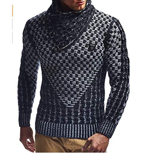 Zestion Suéter de Cuello Alto con Cuello Chal para Hombre, Jersey de Jacquard Personalizado con Hebilla de Cuero, Jersey Ajustado de Punto de Gran tamaño