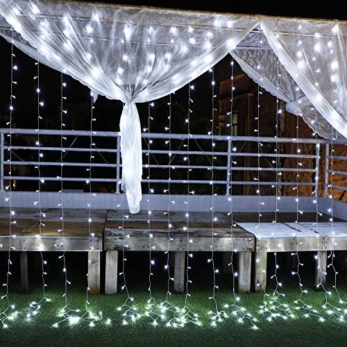 Yinuo Candle Tenda Luminosa Natale Esterno, Tenda Luci Natale Esterno LED 3x 3 m 300LED Impermeabilità IP44 Cascata luci con 8 Modalità di Illuminazione Addobbi Natalizi,Festa, Giardino,Cena