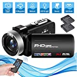 Videokamera Camcorder Full HD 1080P 24.0MP 18X Digitalzoom Videokamera für YouTube mit 3 Zoll...