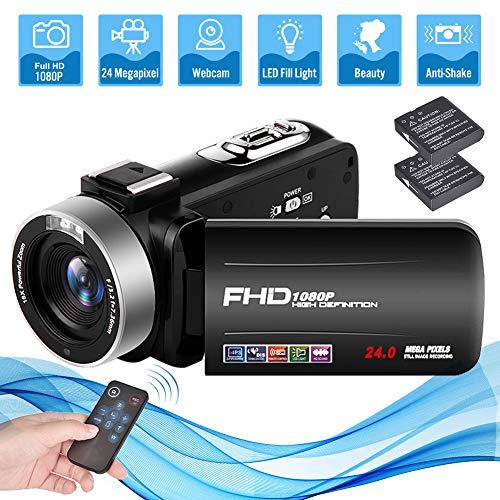 Videokamera Camcorder Full HD 1080P 24.0MP 18X Digitalzoom Videokamera für YouTube mit 3 Zoll Bildschirm und 270 Grad Bildschirmdrehung