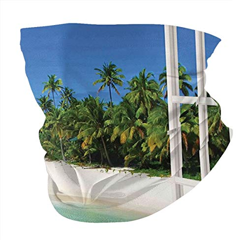 cap hat Outdoor Headband Head Scarf Scarf Neck Gaiter Face Bandana Scarf Turquoise Ocean Paradise Island View from Gazebo Palm Tree Beach Theme Pictures Arts Blue Green White