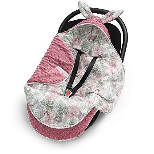 EliMeli Manta para silla de bebé – Manta de invierno para asiento de coche, cochecitos y cochecitos con relleno, saco universal para pies por ejemplo Maxi Cosi, manta para cochecito (rosa – flores)