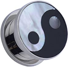 Piercing Deals Yin Yang Mother of Pearl Logo Plug Surgical Steel Screw On Sold in Pairs GA20S