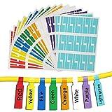 IdentificadordeCables,EtiquetasCables,480 Piezas Etiqueta del Cable Adhesivas Pegatinas Autoadhesivo Impermeable,Resistente al Desgarro Resistente al Aceite,Flexible(16 Hojas 8 Colores Variados)