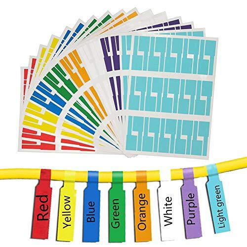 Kabelmarkierer,Kabel Beschriftung Beschriften,8 Farben 16 Blatt 480er Labels Wasserdich Selbstklebend Kabelbeschriftung Kabeletiketten Etiketten Reißfest Universal-Aufkleber