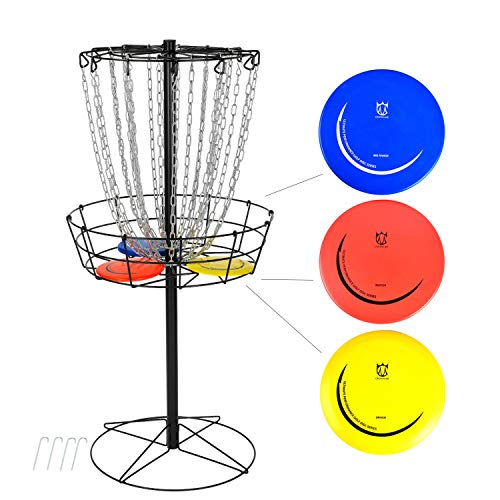 CROWN ME Disc Golf Basket Target Include 3 Discs, 24-Chain Portable Metal...