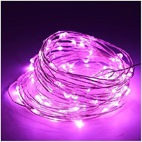 5M(16.4ft) 50 LEDs Kupferdraht LED Kupfer Lichterkette Batteriebetrieb Wasserdicht Sternen Lichterketten für Party, Garten, Weihnachten, Halloween, Hochzeit, Beleuchtung Deko (Rosa)