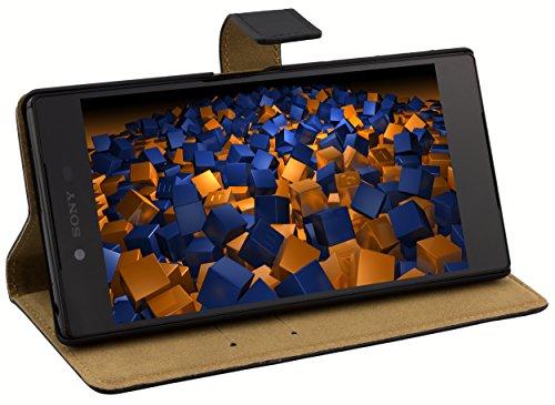 mumbi Echt Leder Bookstyle Hülle kompatibel mit Sony Xperia Z5 Premium Hülle Leder Tasche Hülle Wallet, schwarz