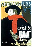 アンリ・ド・トゥールーズ・ロートレック・アリスティド・ブルーアント、アンバサダー・ヴィンテージのキャバレーアートポスター、ヨーロッパとアメリカのスタイルのポスター、大きさ:30x42cm