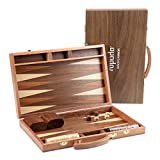 ROPODA Sapele Wood Backgammon Board Game Set (15 Inches) for Adults and Kids - Classic Board Strategy Game - Portable...