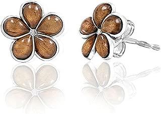 Sterling Silver Koa Wood Plumeria Stud Earrings